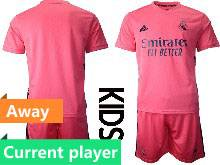Kids 20-21 Soccer Real Madrid Club Current Player Pink Away Short Sleeve Suit Jersey