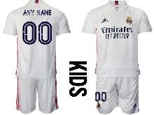 Kids 20-21 Soccer Real Madrid Club ( Custom Made ) White Home Short Sleeve Suit Jersey