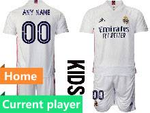 Kids 20-21 Soccer Real Madrid Club Current Player White Home Short Sleeve Suit Jersey