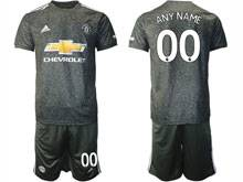 Mens 20-21 Soccer Manchester United Club ( Custom Made ) Black Away Short Sleeve Suit Jersey
