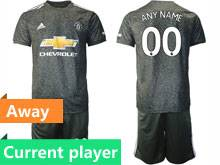 Mens 20-21 Soccer Manchester United Club Current Player Black Away Short Sleeve Suit Jersey