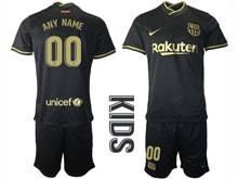 Baby 20-21 Soccer Barcelona Club ( Custom Made ) Balck Away Short Sleeve Suit Jersey
