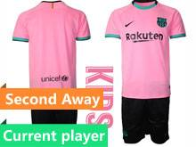 Baby 20-21 Soccer Barcelona Club Current Player Balck Pink Second Away Short Sleeve Suit Jersey