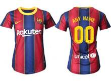 Women 20-21 Soccer Barcelona Club ( Custom Made ) Red And Blue Stripe Home Thailand Short Sleeve Jersey