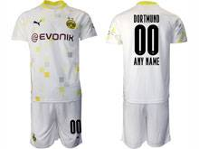 Mens 20-21 Soccer Borussia Dortmund Club ( Custom Made ) White Second Away Short Sleeve Suit Jersey