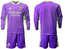 Mens 20-21 Soccer Real Madrid Club ( Custom Made ) Purple Goalkeeper Long Sleeve Suit Jersey