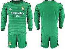 Mens 20-21 Soccer Real Madrid Club ( Custom Made ) Green Goalkeeper Long Sleeve Suit Jersey