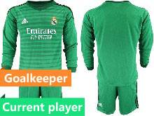 Mens 20-21 Soccer Real Madrid Club Current Player Green Goalkeeper Long Sleeve Suit Jersey