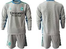 Mens 20-21 Soccer Real Madrid Club ( Custom Made ) Gray Goalkeeper Long Sleeve Suit Jersey