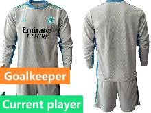 Mens 20-21 Soccer Real Madrid Club Current Player Gray Goalkeeper Long Sleeve Suit Jersey