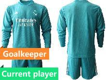 Mens 20-21 Soccer Real Madrid Club Current Player Blue Goalkeeper Long Sleeve Suit Jersey