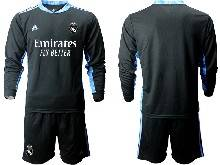 Mens 20-21 Soccer Real Madrid Club ( Custom Made ) Black Goalkeeper Long Sleeve Suit Jersey