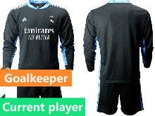 Mens 20-21 Soccer Real Madrid Club Current Player Black Goalkeeper Long Sleeve Suit Jersey