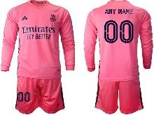 Mens 20-21 Soccer Real Madrid Club ( Custom Made ) Pink Away Long Sleeve Suit Jersey