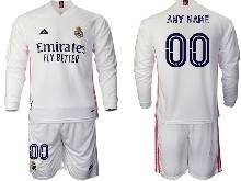 Mens 20-21 Soccer Real Madrid Club ( Custom Made ) White Home Long Sleeve Suit Jersey