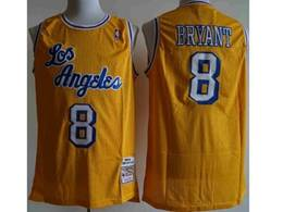 Mens Nba Los Angeles Lakers #8 Kobe Bryant Yellow Mitchell&ness Hardwood Classics Jersey