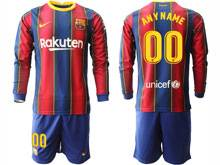 Mens 20-21 Soccer Barcelona Club ( Custom Made ) Red And Blue Stripe Home Long Sleeve Suit Jersey