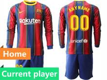 Mens 20-21 Soccer Barcelona Club Current Player Red And Blue Stripe Home Long Sleeve Suit Jersey