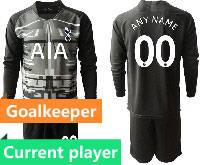 Mens 20-21 Soccer Tottenham Hotspur Club Current Player Black Goalkeeper Long Sleeve Suit Jersey