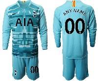 Mens 20-21 Soccer Tottenham Hotspur Club ( Custom Made ) Blue Goalkeeper Long Sleeve Suit Jersey