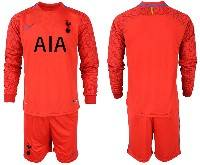 Mens 20-21 Soccer Tottenham Hotspur Club ( Custom Made ) Red Goalkeeper Long Sleeve Suit Jersey