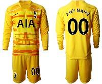 Mens 20-21 Soccer Tottenham Hotspur Club ( Custom Made ) Yellow Goalkeeper Long Sleeve Suit Jersey