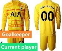 Mens 20-21 Soccer Tottenham Hotspur Club Current Player Yellow Goalkeeper Long Sleeve Suit Jersey