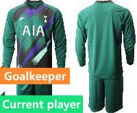 Mens 20-21 Soccer Tottenham Hotspur Club Current Player Green Goalkeeper Long Sleeve Suit Jersey