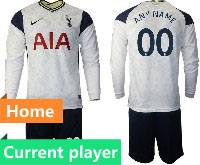 Mens 20-21 Soccer Tottenham Hotspur Club Current Player White Home Long Sleeve Suit Jersey