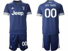 Mens 20-21 Soccer Juventus Club ( Custom Made ) Blue Away Short Sleeve Suit Jersey