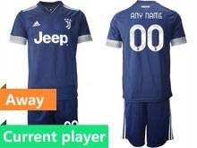 Mens 20-21 Soccer Juventus Club Current Player Blue Away Short Sleeve Suit Jersey