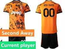 Mens 20-21 Soccer Juventus Club Current Player Orange Second Away Short Sleeve Suit Jersey