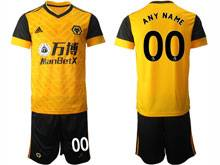 Mens 20-21 Soccer Wolverhampton Wanderers F.c. Club ( Custom Made ) Yellow Home Short Sleeve Suit Jersey