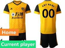 Mens 20-21 Soccer Wolverhampton Wanderers F.c. Club Current Player Yellow Home Short Sleeve Suit Jersey