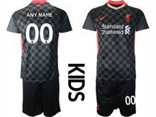 Kids 20-21 Soccer Liverpool Club ( Custom Made ) Black Second Away Short Sleeve Suit Jersey