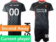 Kids 20-21 Soccer Liverpool Club Current Player Black Second Away Short Sleeve Suit Jersey