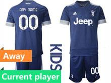 Kids 20-21 Soccer Juventus Club Current Player Blue Away Short Sleeve Suit Jersey