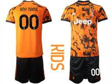 Kids 20-21 Soccer Juventus Club ( Custom Made ) Orange Second Away Short Sleeve Suit Jersey