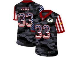 Mens Nfl Green Bay Packers #33 Aaron Jones 2020 Camo Usa Flag Salute To Service Limited Nike Jersey