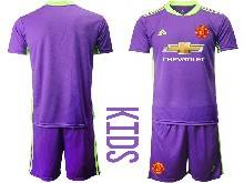Kids 20-21 Soccer Manchester United Club ( Custom Made ) Purple Goalkeeper Short Sleeve Suit Jersey