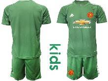 Kids 20-21 Soccer Manchester United Club ( Custom Made ) Green Goalkeeper Short Sleeve Suit Jersey