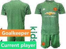 Kids 20-21 Soccer Manchester United Club Current Player Green Goalkeeper Short Sleeve Suit Jersey