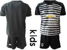 Kids 20-21 Soccer Manchester United Club ( Custom Made ) Black Goalkeeper Short Sleeve Suit Jersey