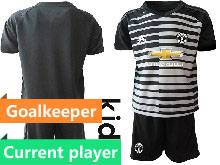 Kids 20-21 Soccer Manchester United Club Current Player Black Goalkeeper Short Sleeve Suit Jersey