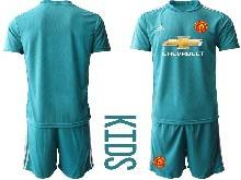 Baby 20-21 Soccer Manchester United Club ( Custom Made ) Blue Goalkeeper Short Sleeve Suit Jersey