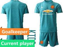 Baby 20-21 Soccer Manchester United Club Current Player Blue Goalkeeper Short Sleeve Suit Jersey