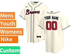 Mens Womens Youth Nike 2020 Atlanta Braves Cream Custom Made Cool Base Jersey