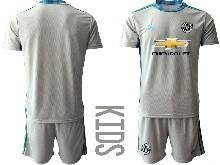 Kids 20-21 Soccer Manchester United Club ( Custom Made ) Gray Goalkeeper Short Sleeve Suit Jersey