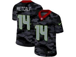 Mens Nfl Seattle Seahawks #14 Dk Metcalf 2020 Nike Camo Salute To Service Limited Jersey