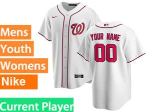 Mens Womens Youth Washington Nationals Current Player 2020 Nike White Home Cool Base Jersey